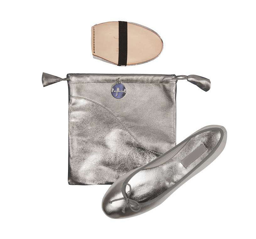 Ballet Pumps in Metallic Silver with Carry Bag