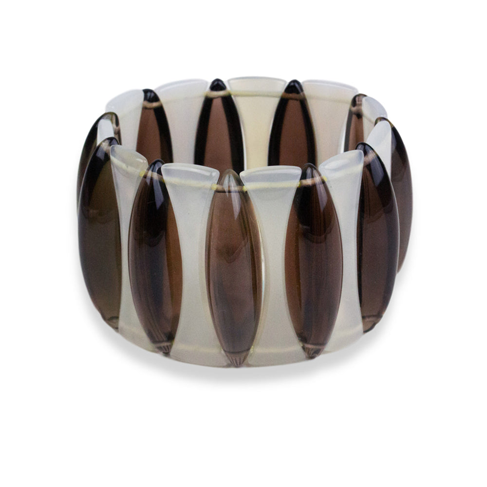 Smoky Quartz Chalcedony Cats Eye Elasticated Bracelet