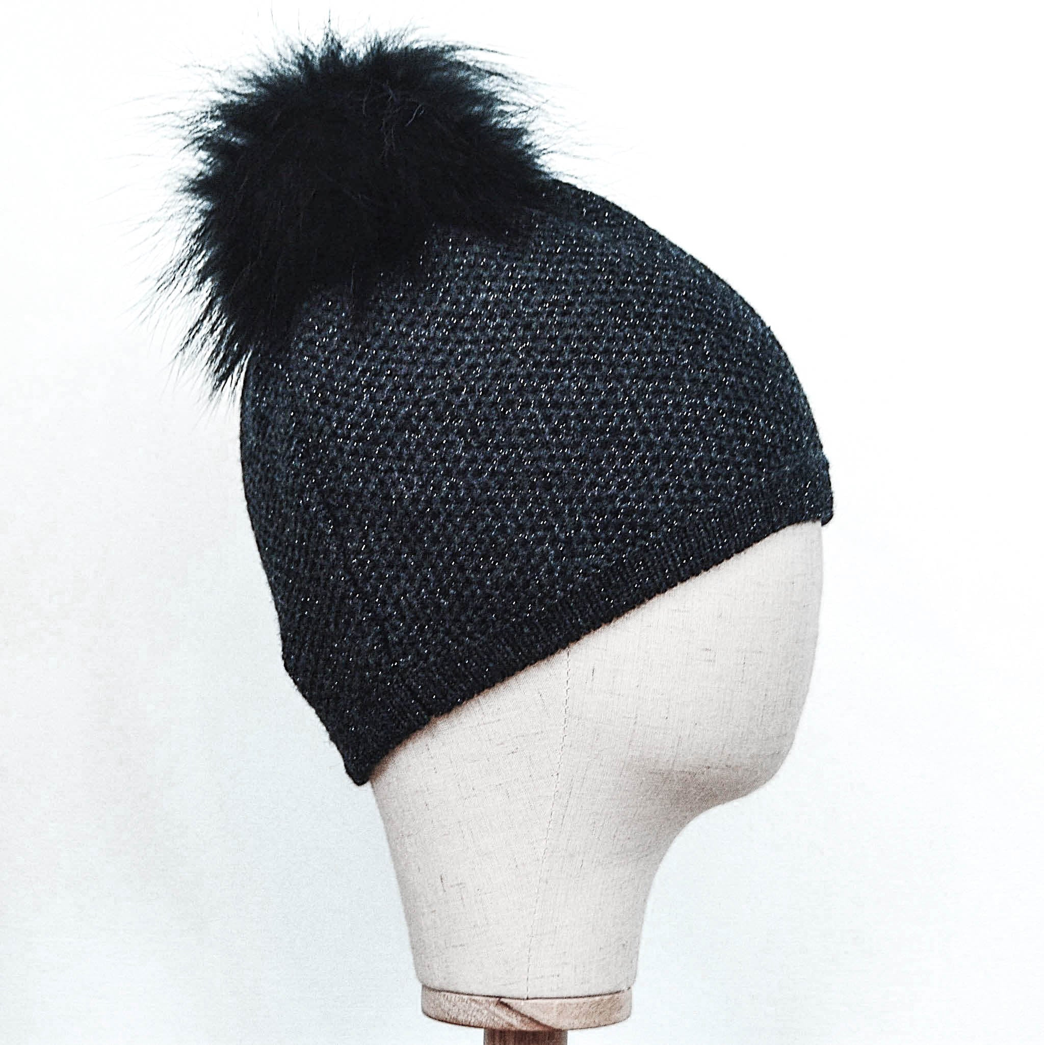 Inverni Black Cashmere Hat with Metallic Thread & Fox Fur Pom-Pom