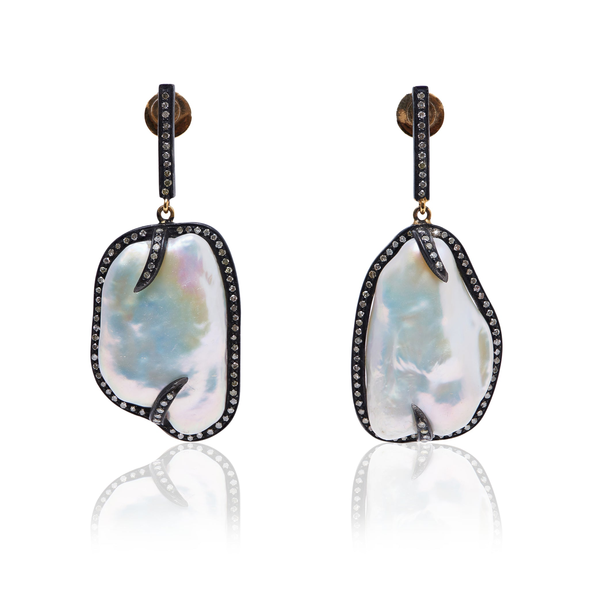 Diamond and Baroque Pearl earrings in oxidised sterling silver