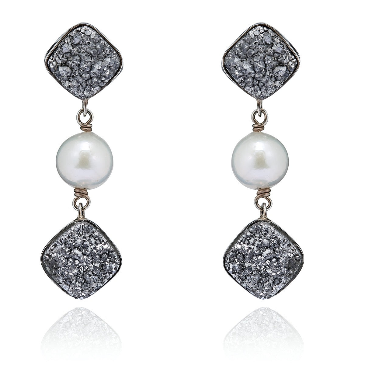 Triple Chalcedony Druzy Pearl Earrings