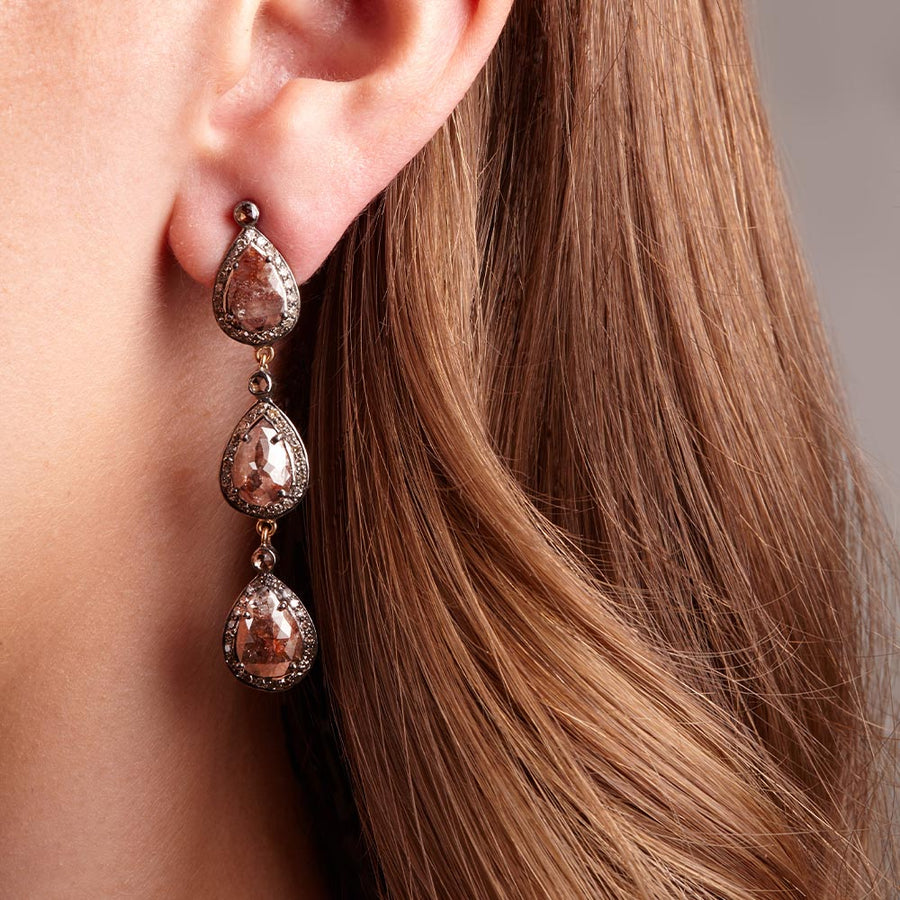 Long Red Diamond, Triple Drop Earring