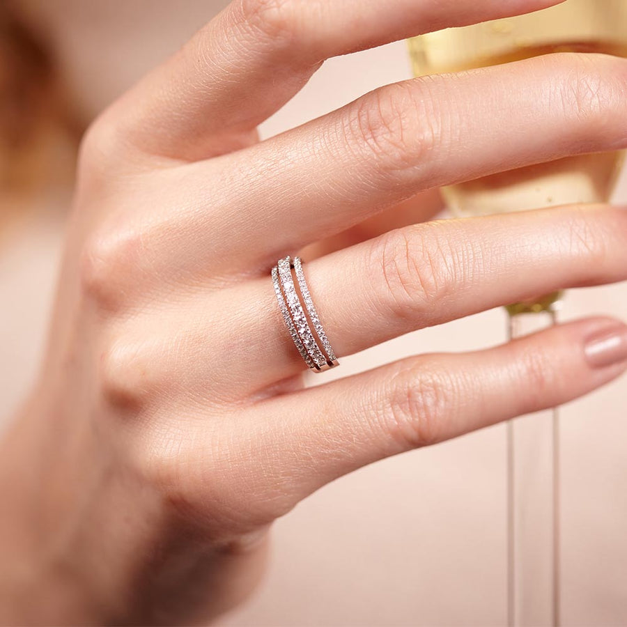 Triple Whisper Diamond Ring
