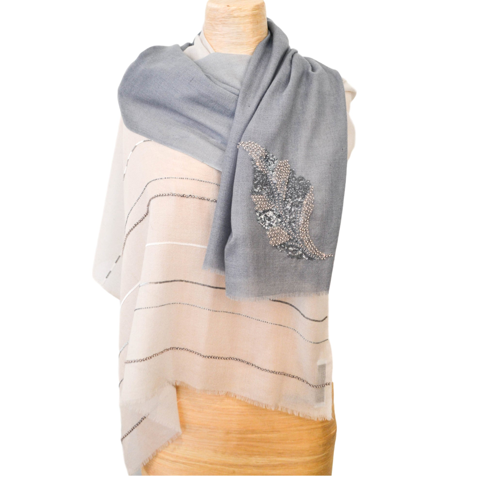 Nantucket Blue Shawl with Hand Beaded Leaf and Stripe Design