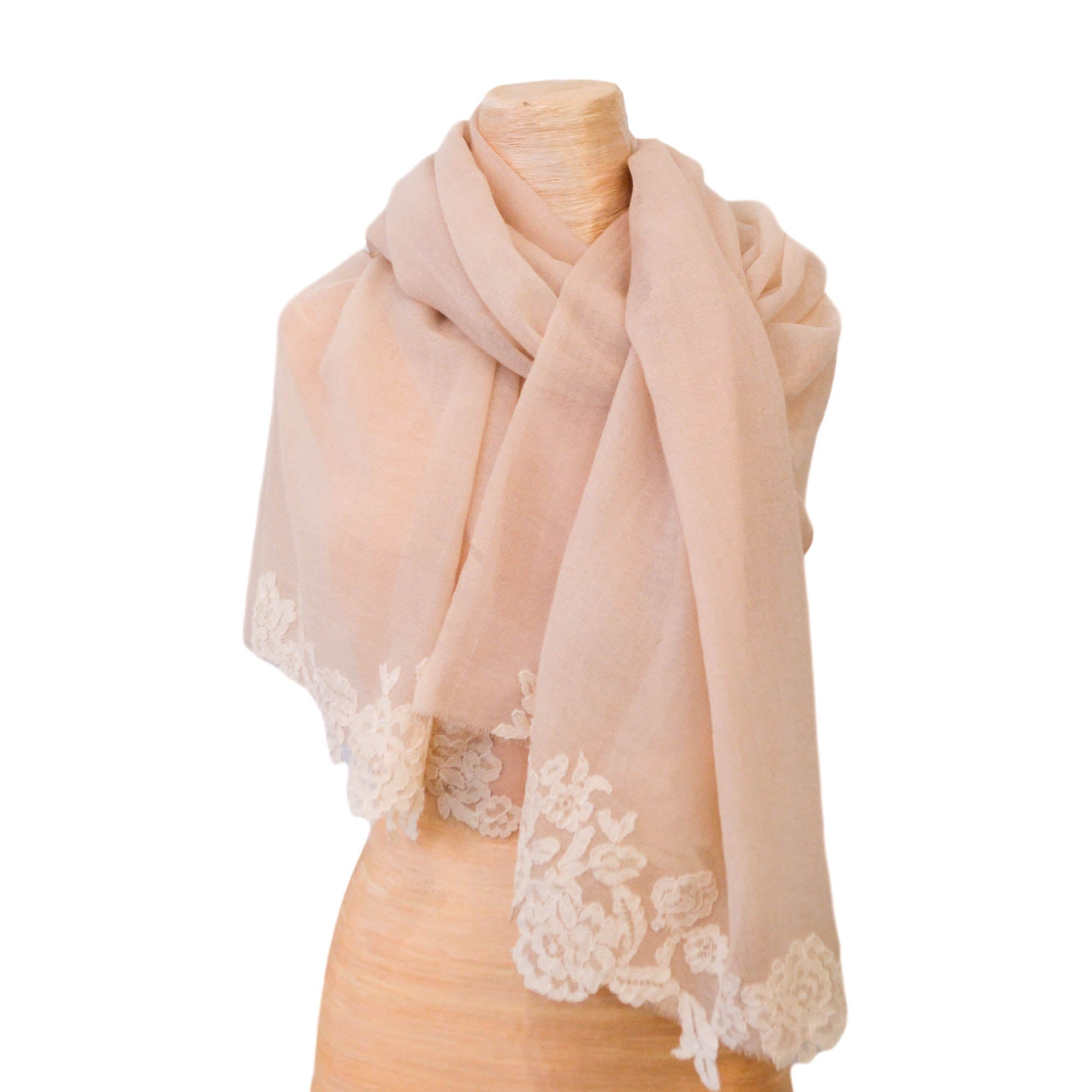 Pale Rose Shawl with Calais lace