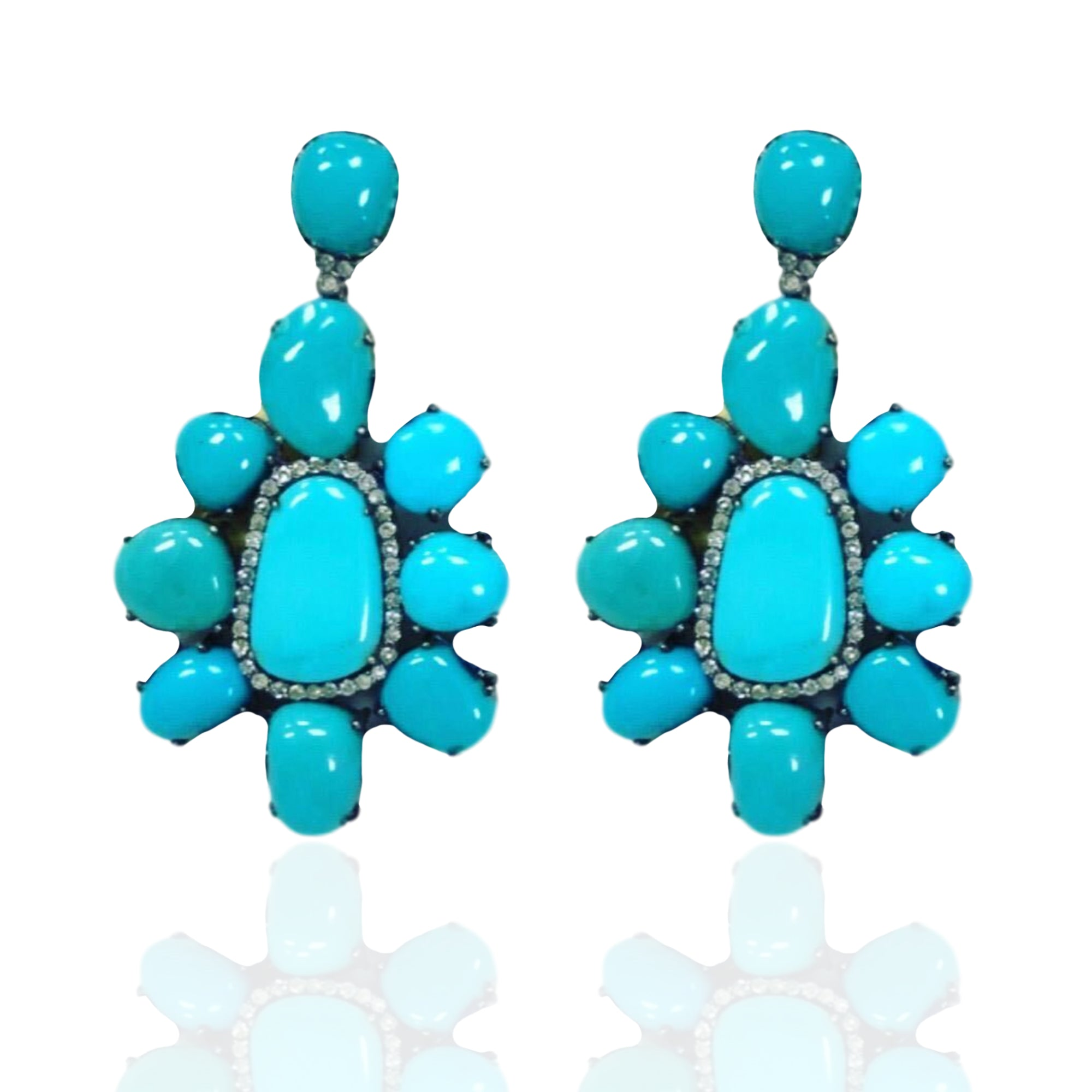 Turquoise Cluster Earrings with Blue Sapphires and White Diamonds