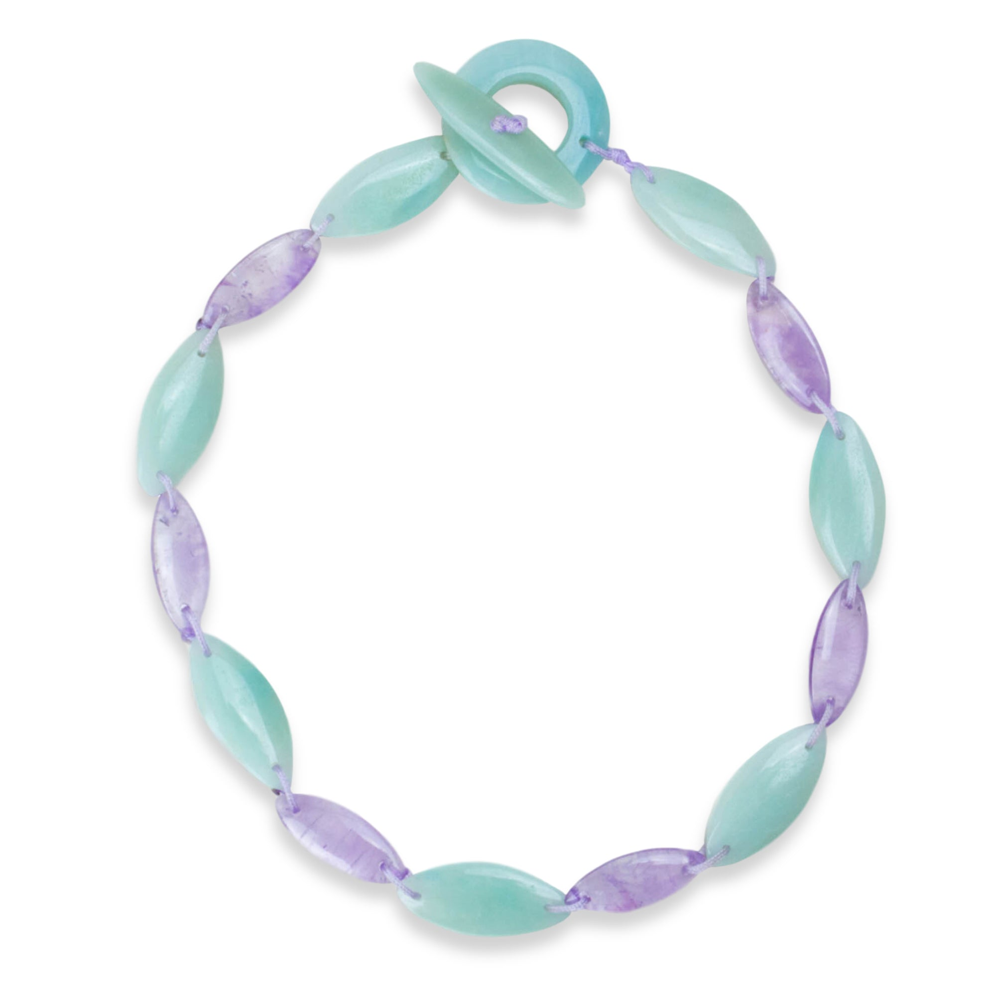 Amazonite and Amethyst Wave Necklace