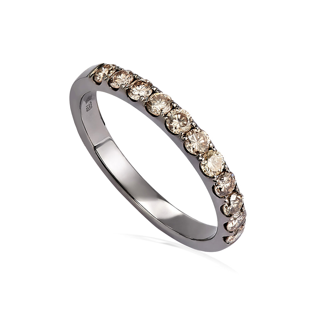 Brown Diamond Half Whisper Stacking Ring