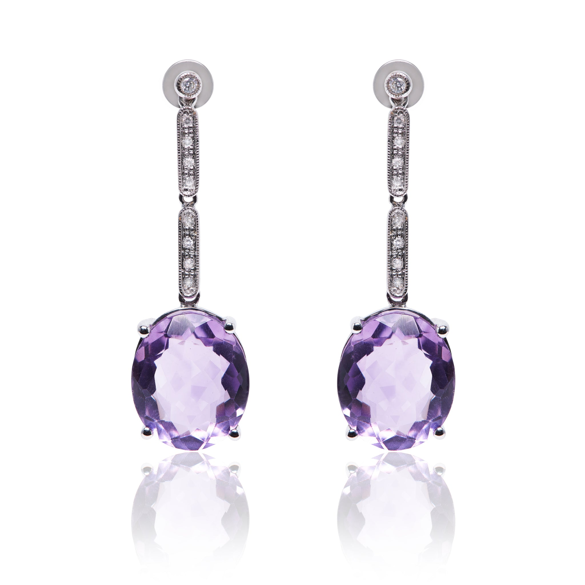 Amethyst and Diamond, Lina Earrings