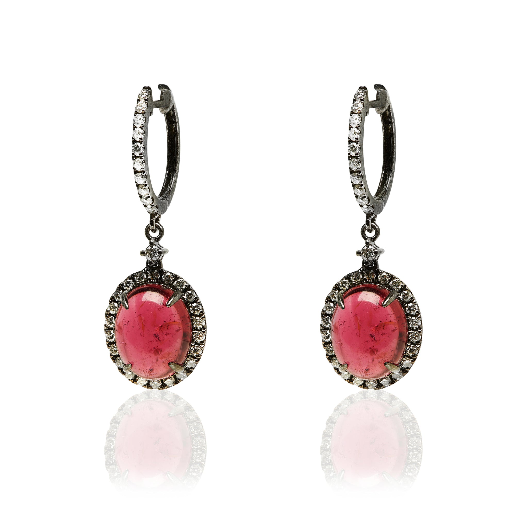 Pink Tourmaline Diamond small hoop Earring