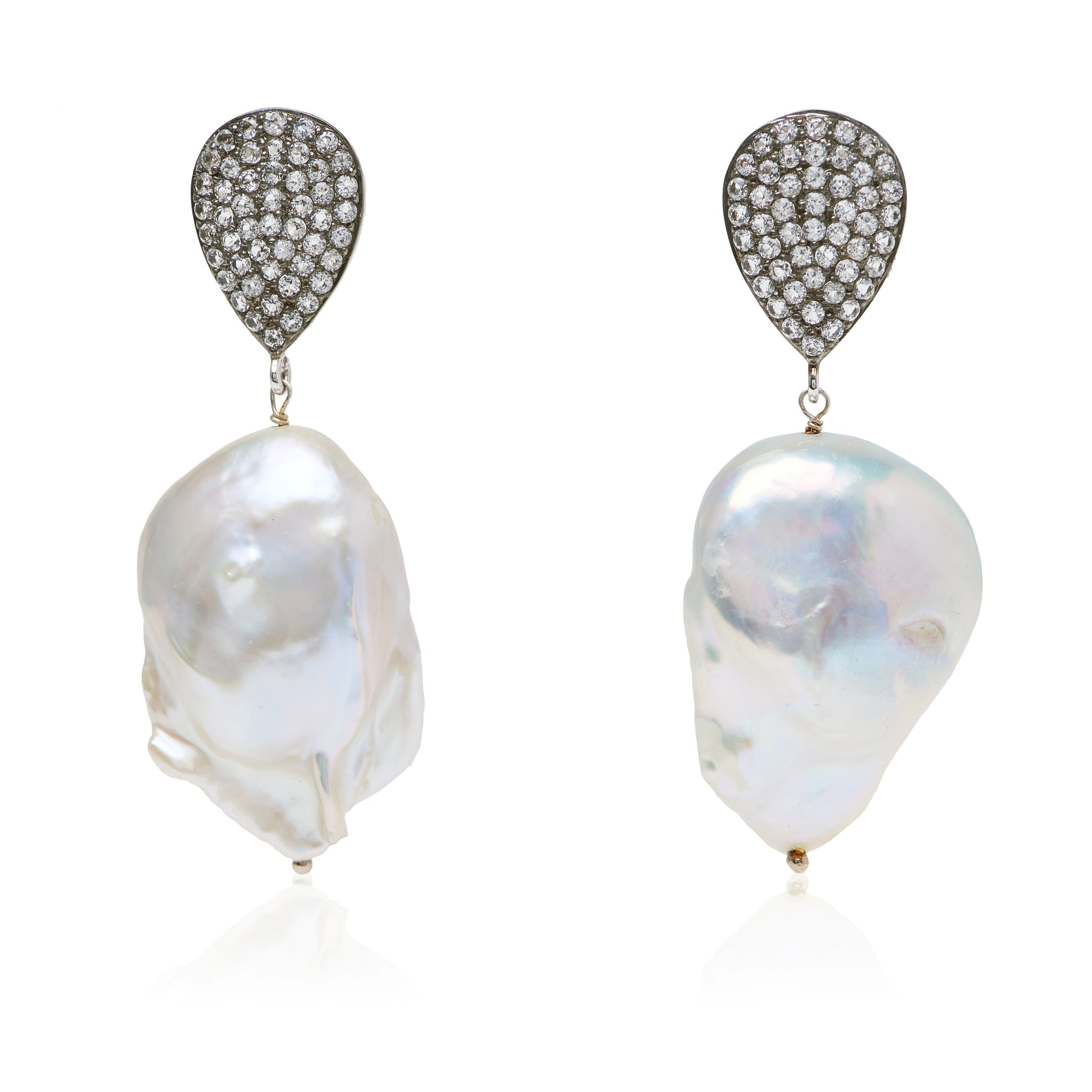 White Topaz and Baroque Pearl Earrings in Sterling Silver