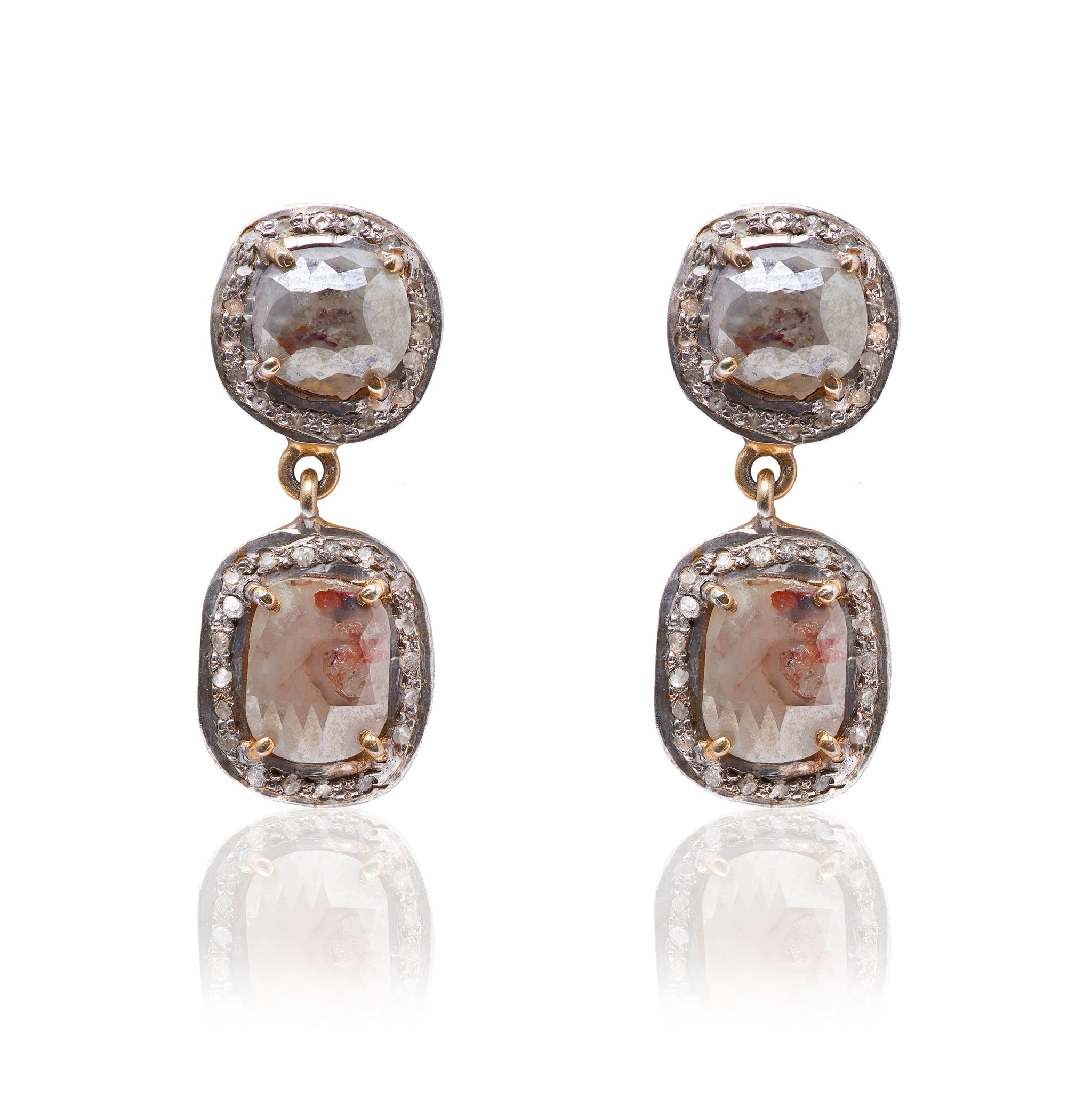 Double cognac diamond earrings set in 14k Yellow Gold