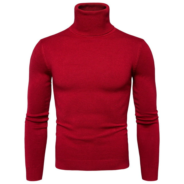 2018 New Winter Mens Sweater Turtleneck Solid Color Casual Sweater Mens Slim Fit,Beige,XL