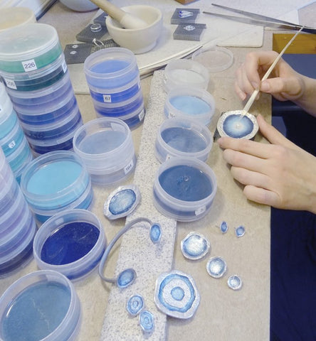 Enamelling the lunar and brodgar eye collection
