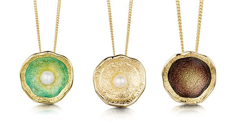 Different Colours of enamels in the lunar pendant