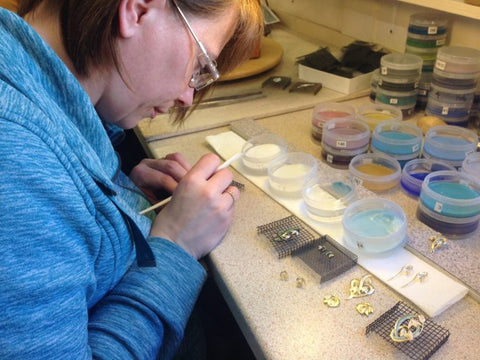 Enamelling the gold snowdrops