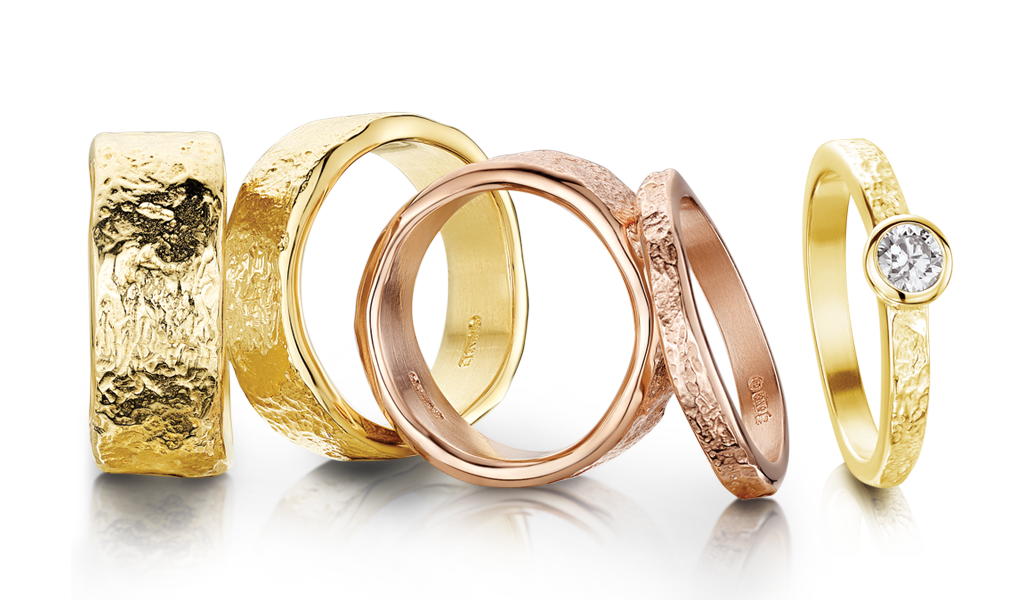 A variety of Sheila's Matrix rings in yellow and rose gold
