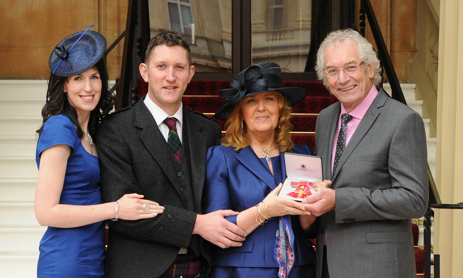 Sheila Fleet and family, after receiving her OBE for services to the jewellery industry