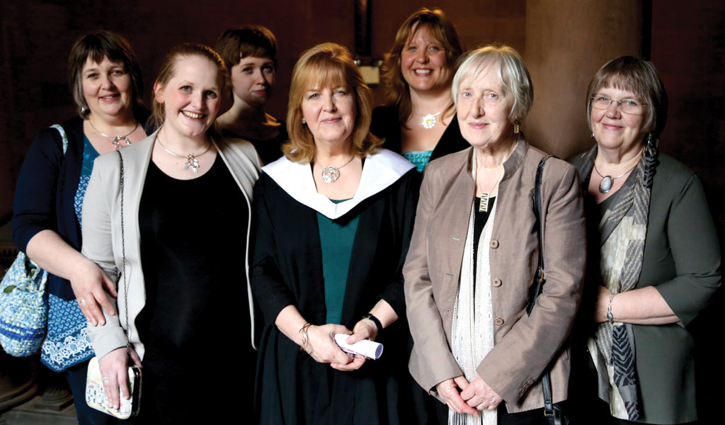 Sheila with her three sisters and nieces, all who attended Edinburgh College of Art