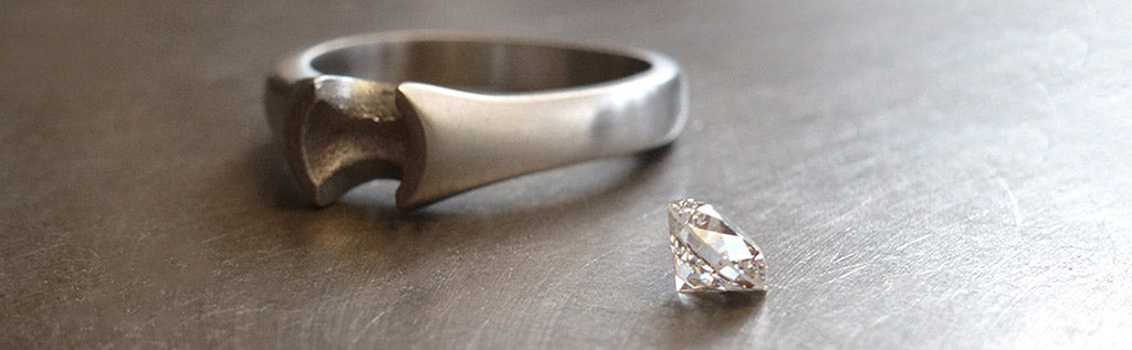 Venus ring ready for diamond setting in our workshop.
