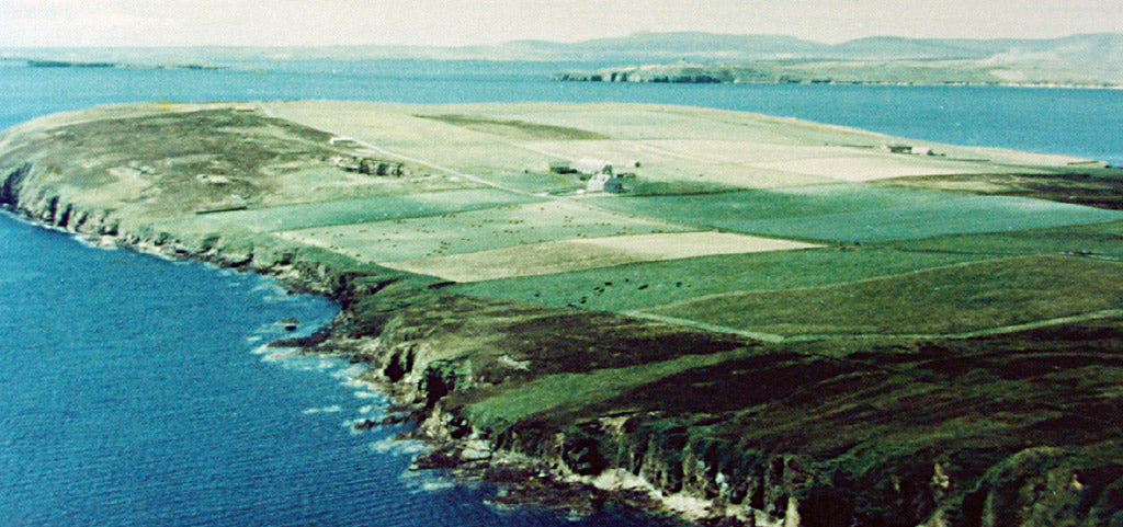 Sheila's childhood home, the family farm of Rinibar, on Hoxa, South Ronaldsay, in Orkney.