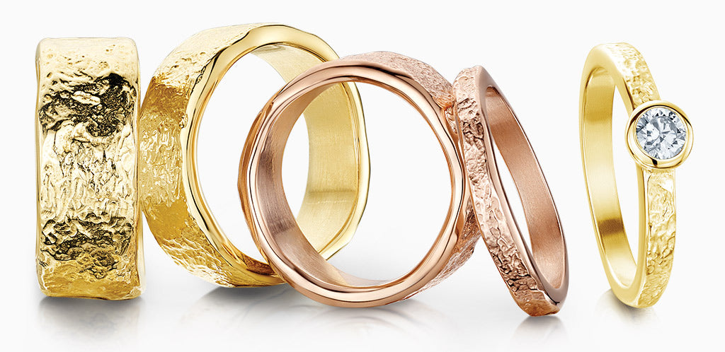 Sheila Fleet textured Matrix rings in yellow and rose gold