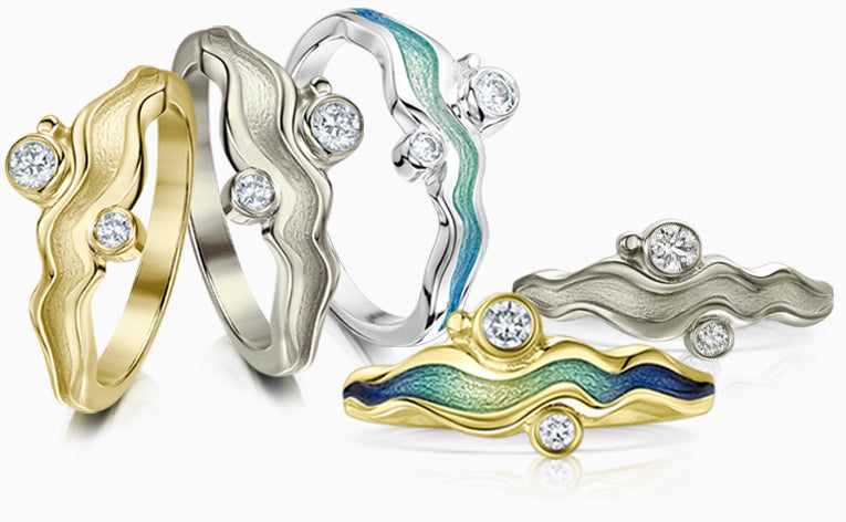 Sheila's River Ripples ring in a variety of precious metals and enamels