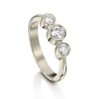 Trilogy Diamond Ring in 18ct White Gold by Sheila Fleet Jewellery
