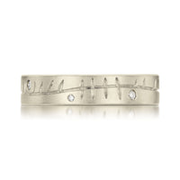 Ogham Ring in 18ct White Gold with Diamonds by Sheila Fleet Jewellery