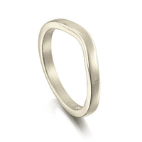 Contemporary Curve Wedding Band in 18ct White Gold (to match DR181) by Sheila Fleet Jewellery