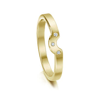 Diamond Arch Wedding Band in 18ct Yellow Gold (to match DR179) by Sheila Fleet Jewellery
