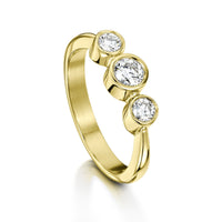 Trilogy Diamond Ring in 18ct Yellow Gold by Sheila Fleet Jewellery