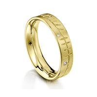 Ogham Ring in 18ct Yellow Gold with Diamonds by Sheila Fleet Jewellery