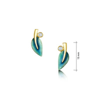 18ct Gold Rowan Small Diamond Stud Earrings in Evergreen Enamel