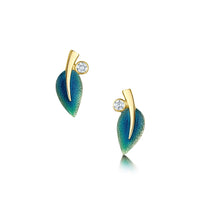 18ct Gold Rowan Diamond Stud Earrings in Evergreen Enamel