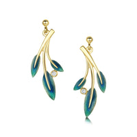 18ct Gold Rowan Three-Leaf Diamond Drop Earrings in Evergreen Enamel