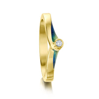 New Wave Solitaire 18ct Yellow Gold Ring in Ocean Enamel by Sheila Fleet Jewellery
