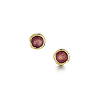 Lunar 18ct Yellow Gold Petite Stud Earrings in Plum Enamel