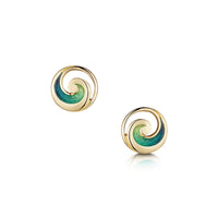 Pentland Enamelled Small Stud Earrings in 18ct Yellow Gold