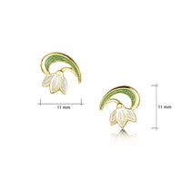 Snowdrop 18ct Yellow Gold Stud Earrings in Opal White Enamel