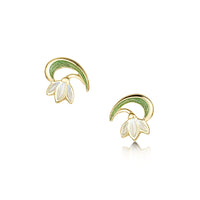 Snowdrop 18ct Yellow Gold Stud Earrings in Opal White Enamel by Sheila Fleet Jewellery