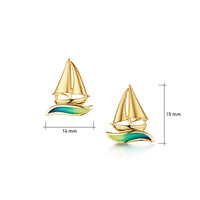 Orkney Yole Enamel Stud Earrings in 18ct Yellow Gold