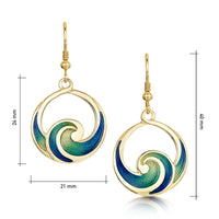 Pentland Enamelled Drop Earrings in 18ct Yellow Gold