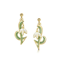 Snowdrop 18ct Yellow Gold Drop Earrings in Opal White Enamel by Sheila Fleet Jewellery