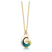 Wave Enamel Pendant in 18ct Yellow Gold by Sheila Fleet Jewellery