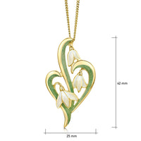 Snowdrop 3-leaf 18ct Yellow Gold Pendant in Opal White Enamel