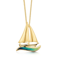 Orkney Yole Enamel Pendant in 18ct Yellow Gold
