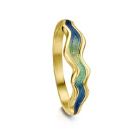 River Ripples 18ct Yellow Gold Ring in Ocean Enamel by Sheila Fleet Jewellery