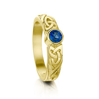 Celtic Knotwork Sapphire Solitaire Ring in 18ct Yellow Gold