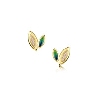 Seasons Spring Enamel Petite Stud Earrings in 18ct Yellow & Rose Gold by Sheila Fleet Jewellery